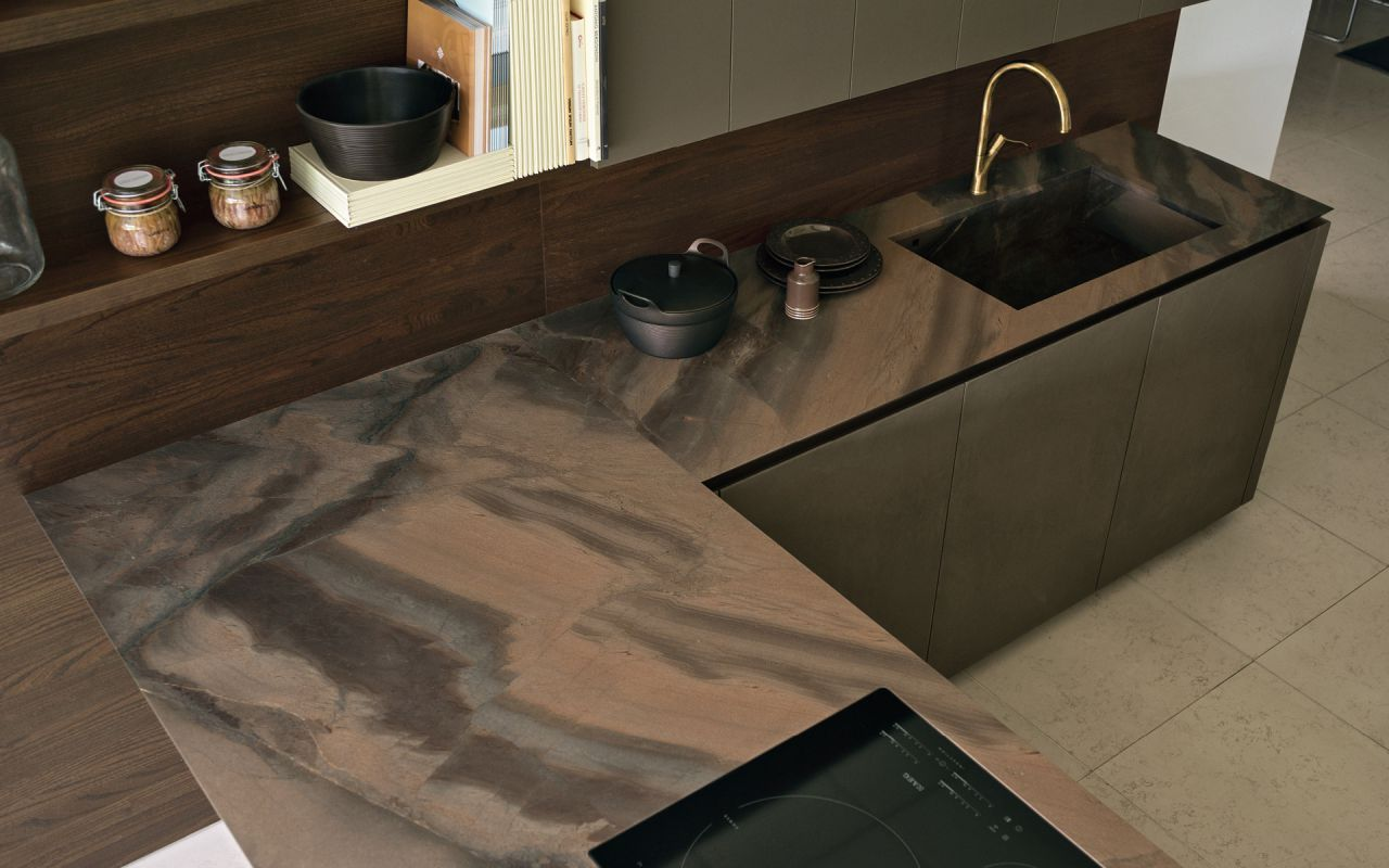 Contemporary Kitchen Wooden L Shaped Handleless Viva Maistri