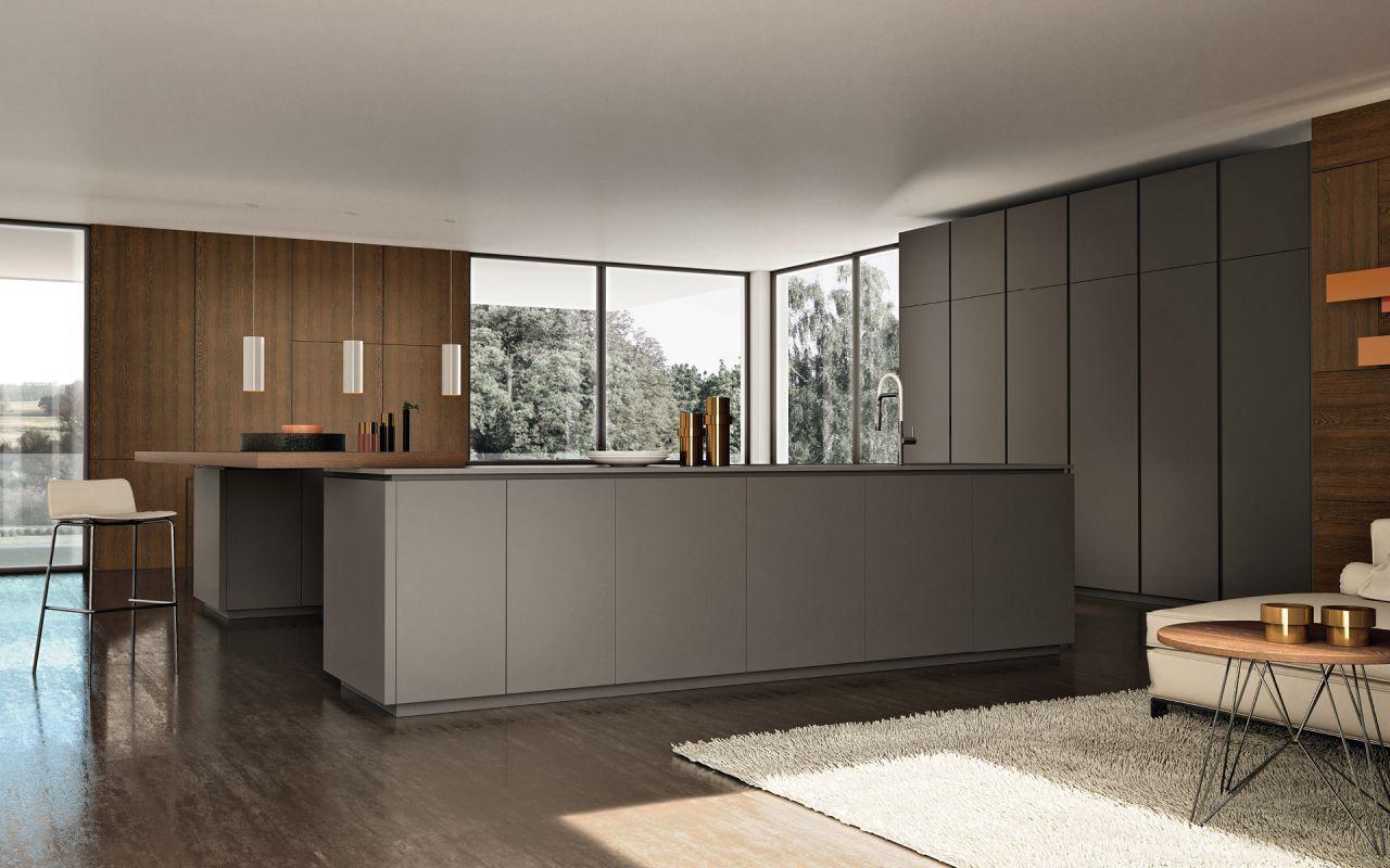 Contemporary Kitchen Lacquered Wood Island Matte Viva Maistri