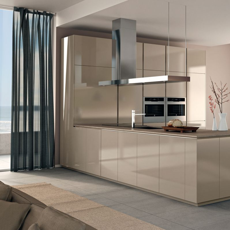 Contemporary Kitchen Lacquered Wood Island High Gloss Viva