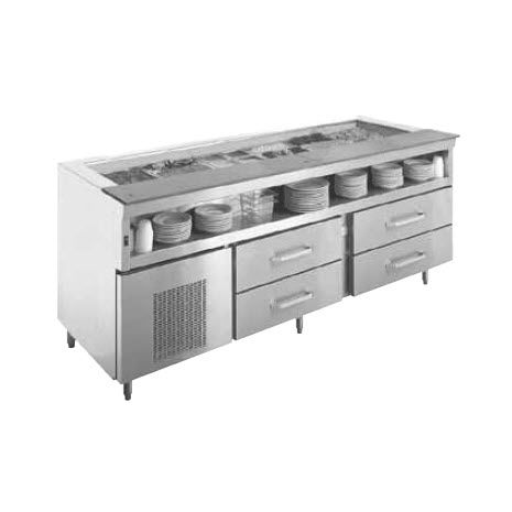 Stainless Steel Prep Table Refrigerated With Storage Compartment - Stainless steel prep table with shelves