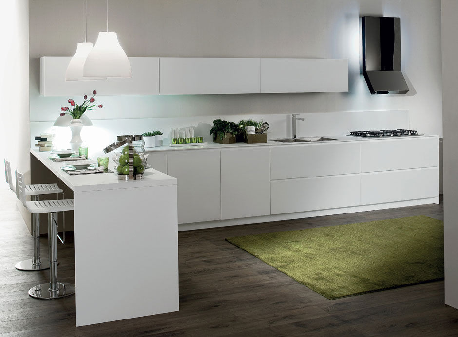 Contemporary kitchen / wooden / lacquered / matte - CRETA FLUTE by ...