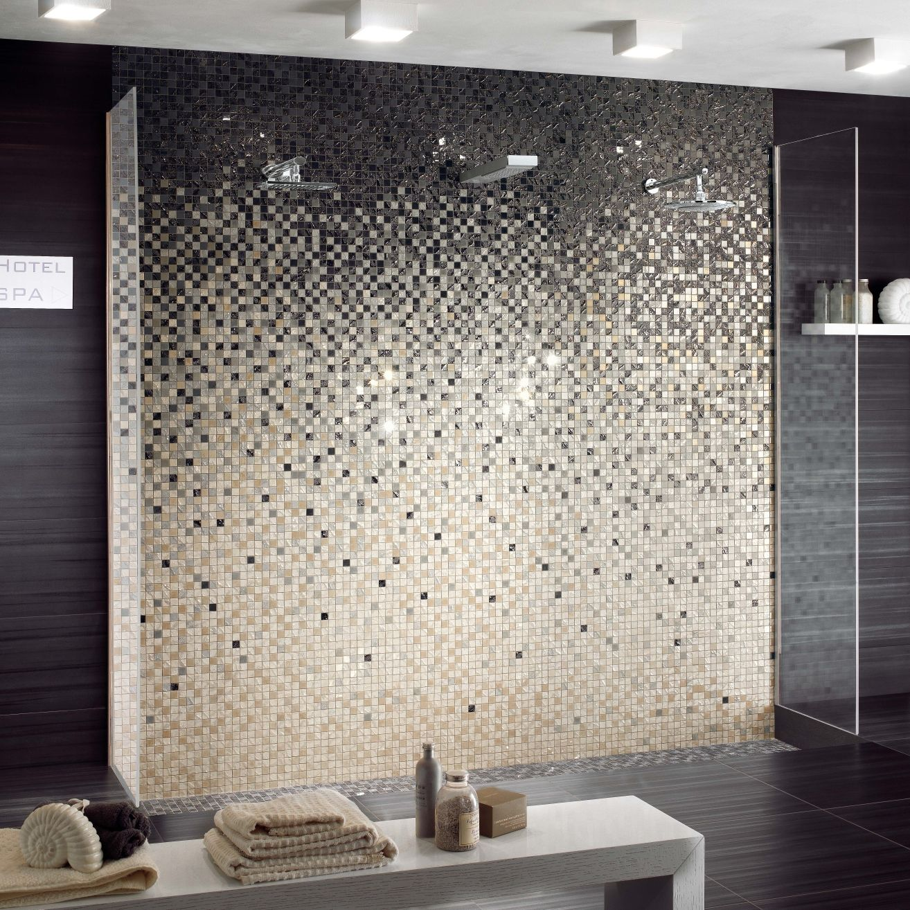 Indoor mosaic tile / bathroom / wall / porcelain stoneware - FOUR ...