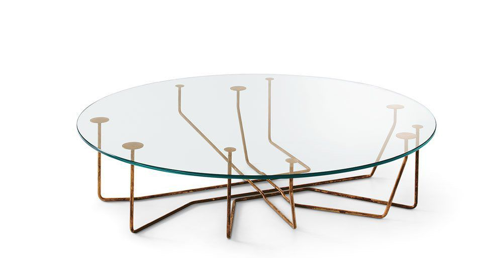 Amazing Original Design Coffee Table / Glass / Tempered Glass / Brass   CONNECTION  By Massimo Castagna