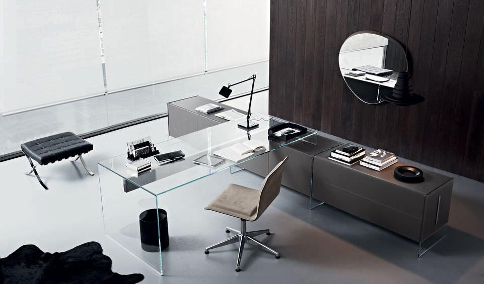 Multia Desk Aluminum Stainless Steel Glass Air 1 By Pinuccio Borgonovo