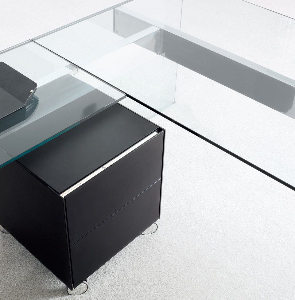 Executive Desk Aluminum Stainless Steel Glass