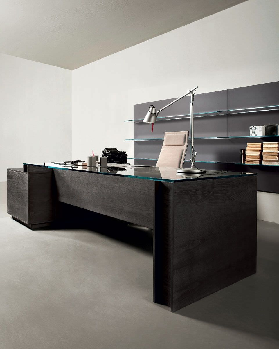 Office Desk With Glass Top Executive Ash Leather Milano By Daniele Lo