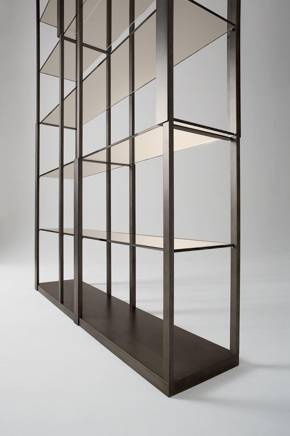 Contemporary shelf / wooden / metal / glass - TORTONA by Massimo ...