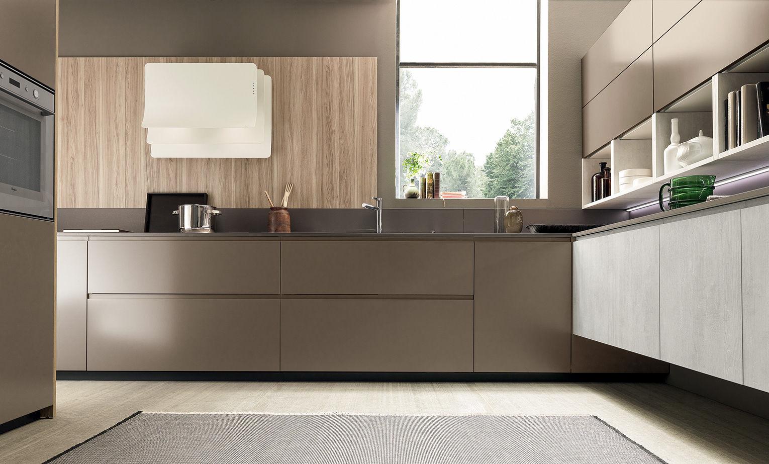 Contemporary kitchen / wooden / lacquered / handleless - VOLUMIA by ...