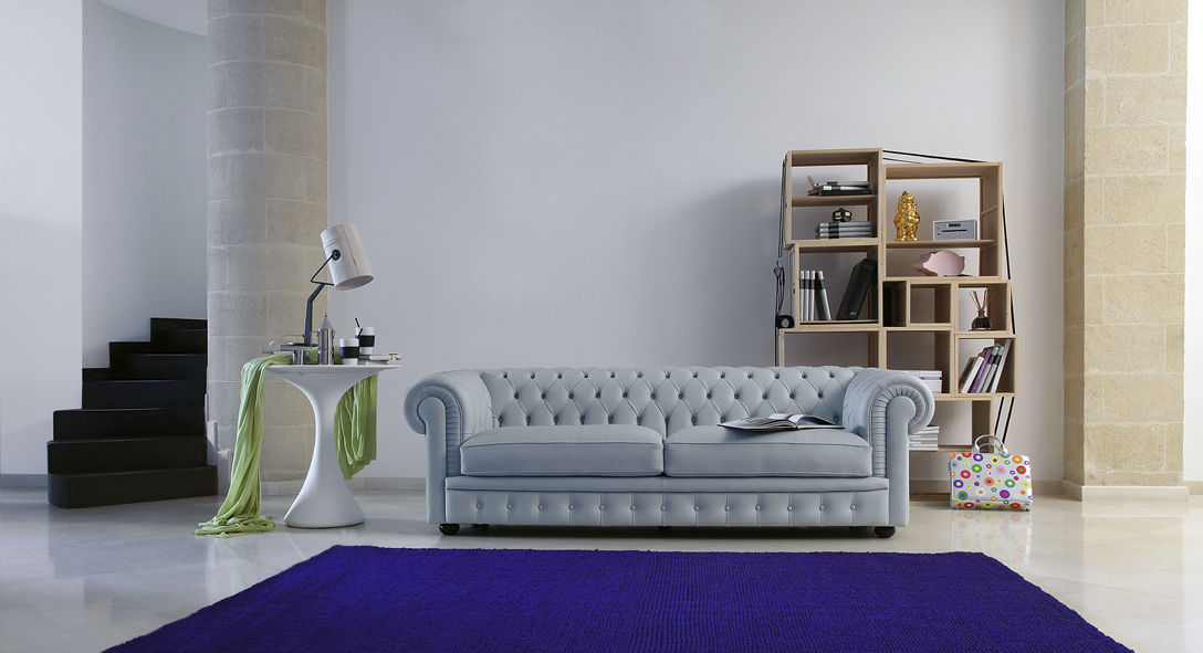 Chesterfield sofa / leather / 2-person / gray - SIR WILLIAM ...