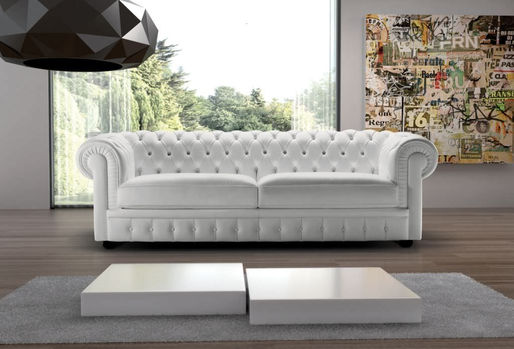 Chesterfield Sofa / Leather / 2 Person / Gray ...