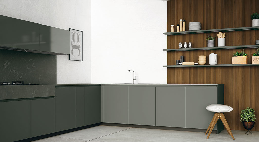 Contemporary kitchen / melamine / stainless steel / marble - MATERIA ...