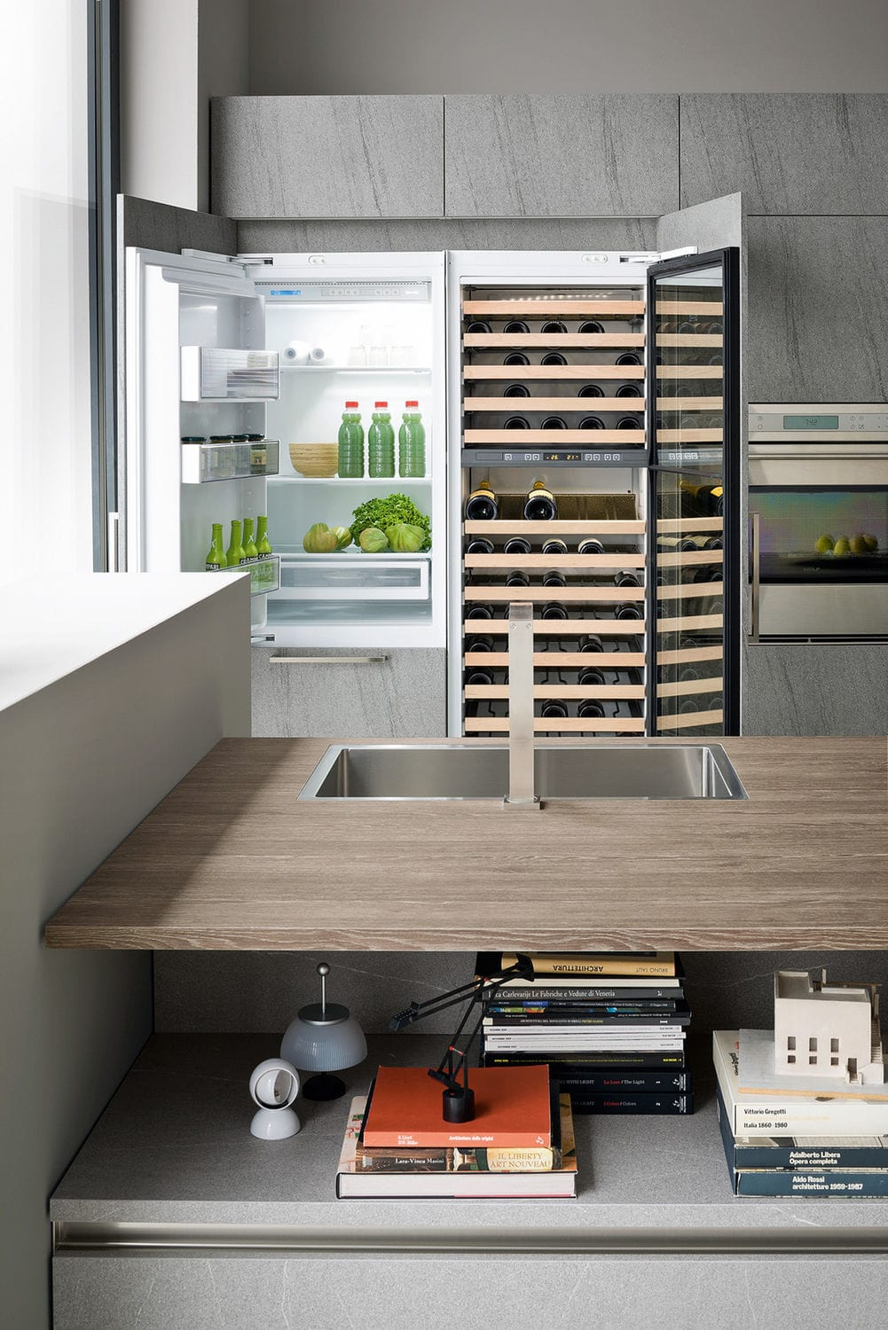 built-in wine cabinet / stone / glazed / electric