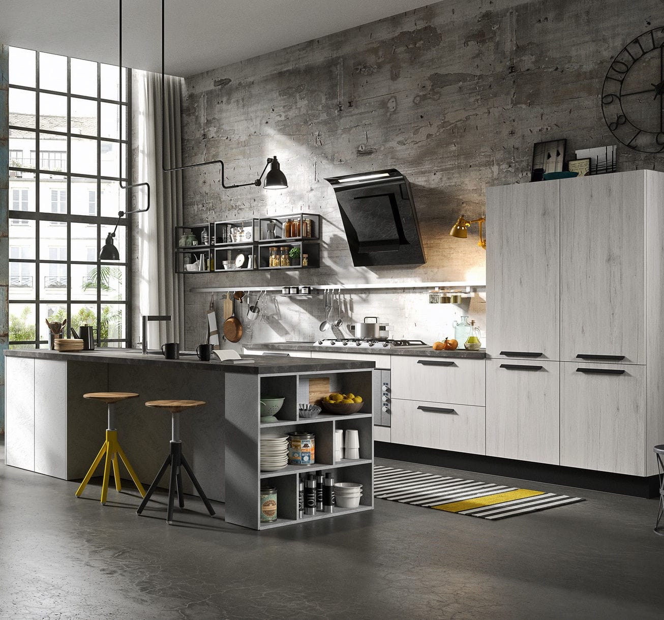 Contemporary Kitchen / Wood Veneer / Lacquered Wood / Island   PEOPLE