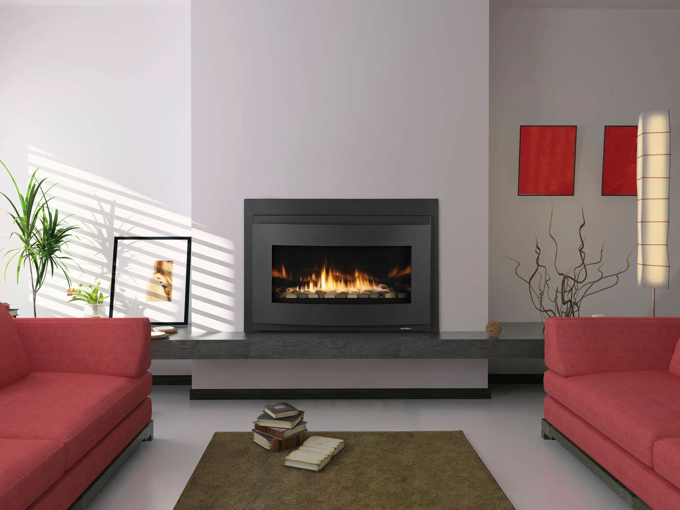 kozy g patio fireplace alpha insert gas heat stone features modern