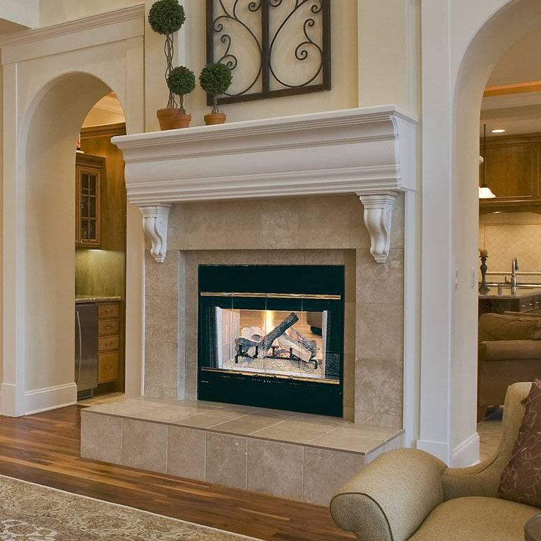 wood burning fireplace traditional closed hearth double