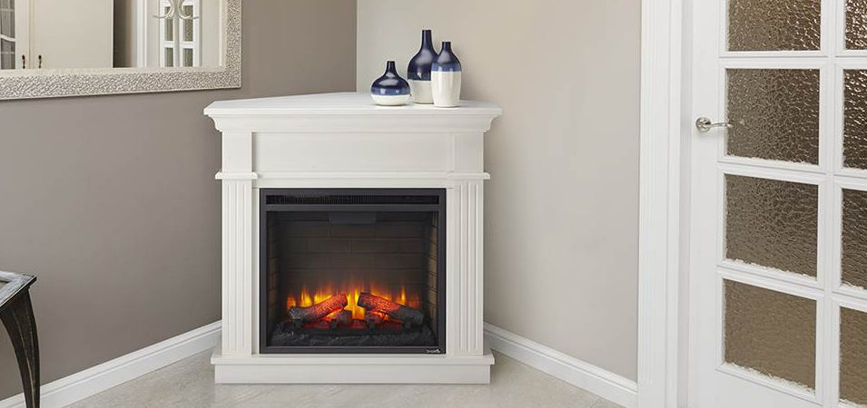 Electric fireplace / traditional / closed hearth / corner - SIMPLIFIRE  CRESTWOOD CABINET - Electric Fireplace / Traditional / Closed Hearth / Corner