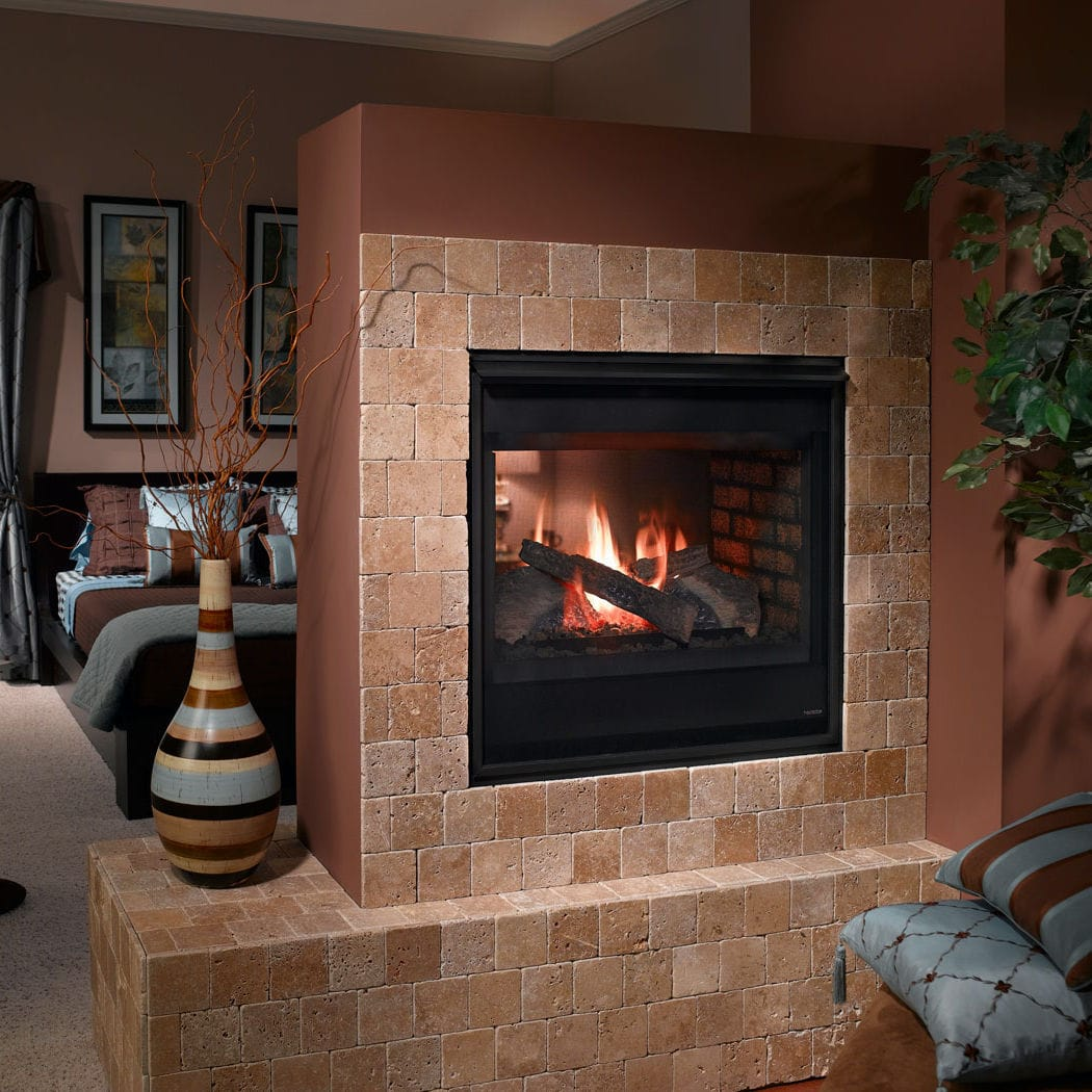 gas fireplace traditional closed hearth double sided see