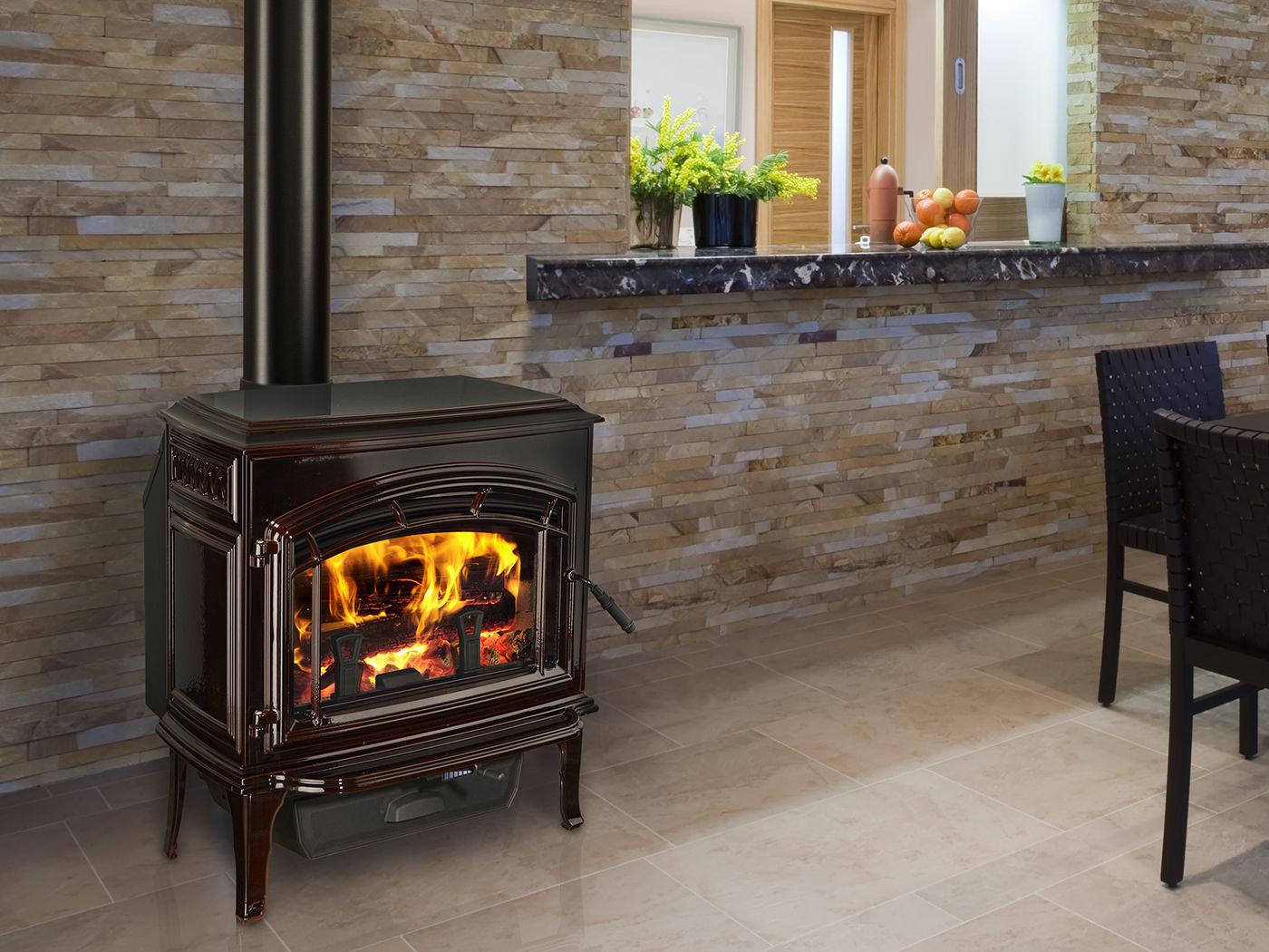 wood heating stove traditional metal explorer quadra fire