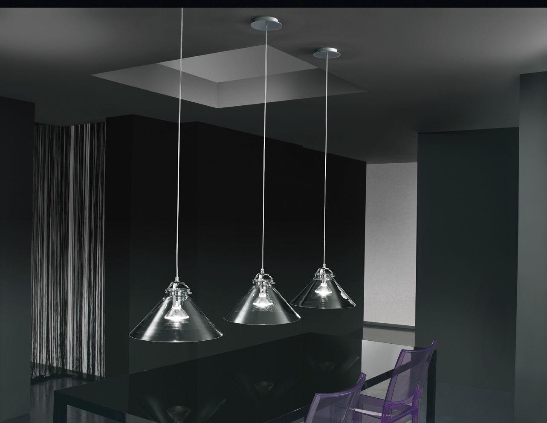 Pendant lamp contemporary chromed metal glass tommy de
