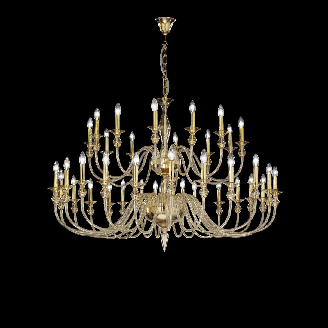 traditional chandelier / glass / metal / silk - 2599