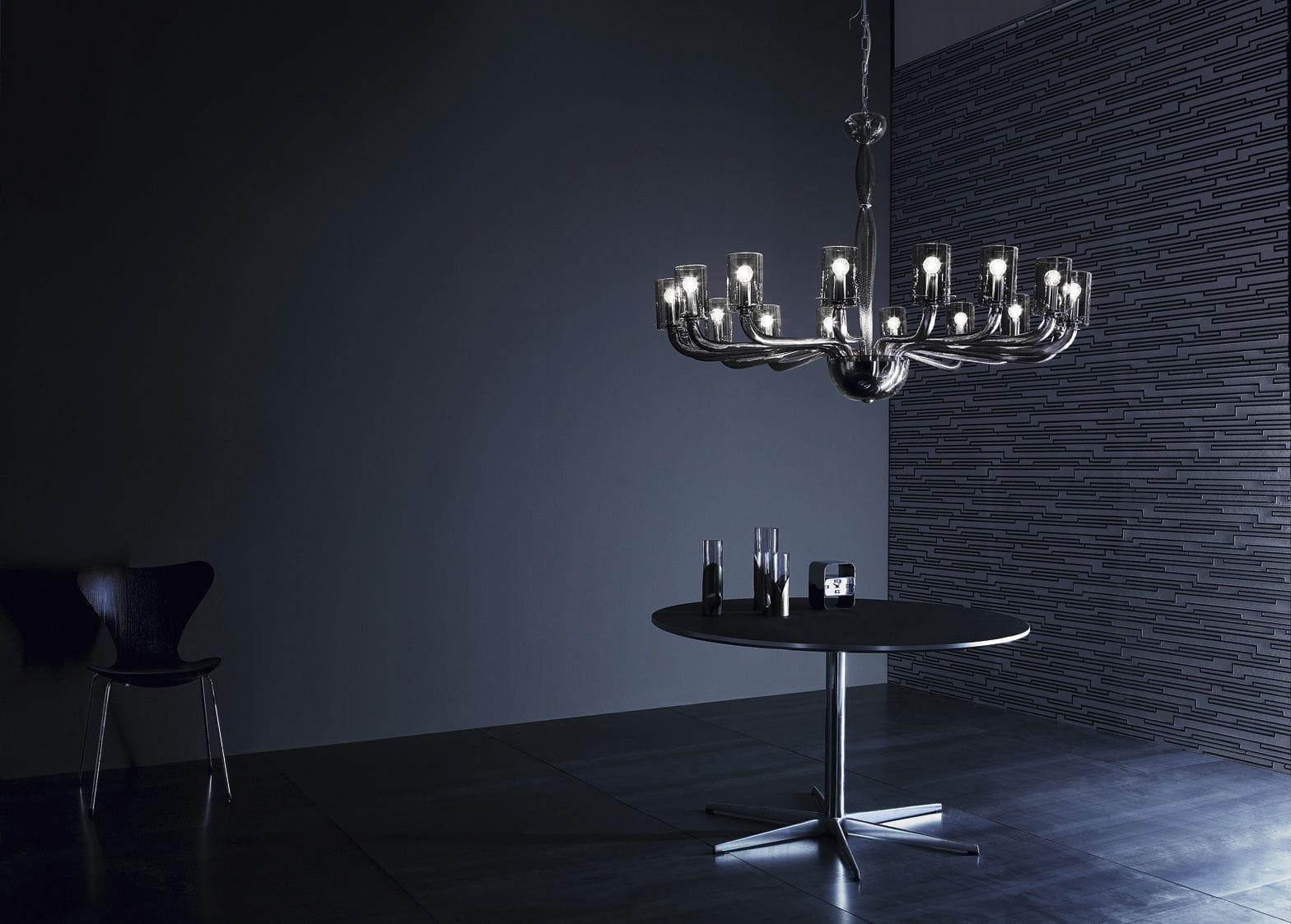 Traditional chandelier glass chromed metal halogen glacÉ