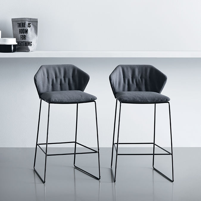 Contemporary Bar Chair / Upholstered / With Removable Cover / Iron   NEW  YORK By Sergio Bicego Amazing Pictures