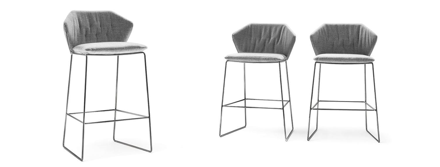 ... Contemporary Bar Chair / Upholstered / With Removable Cover / Iron