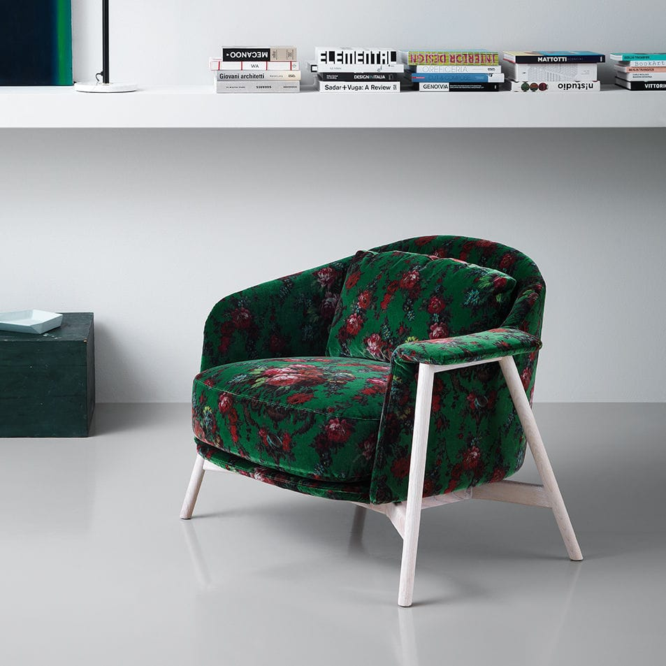 Contemporary Armchair / Fabric / Wooden / Metal   KEPI By Emilio Nanni