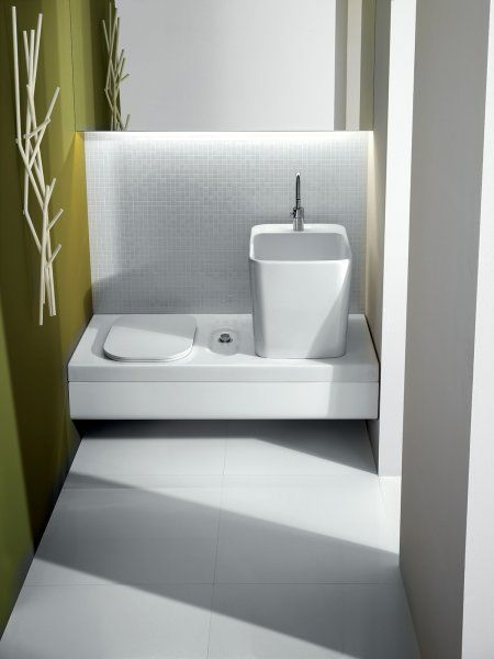 Contemporary bench / with integrated toilet and bidet / wall-mounted ...