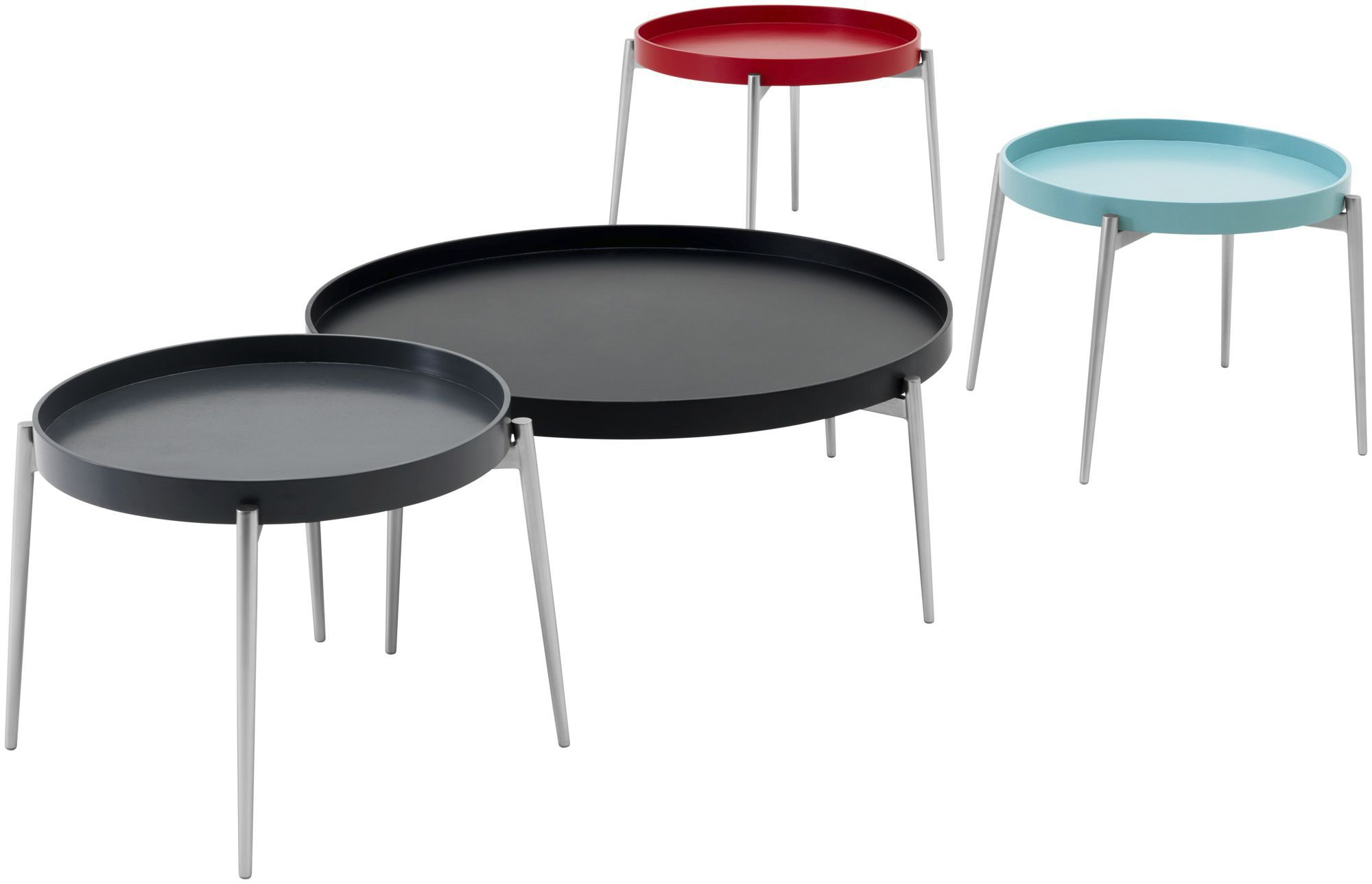 Contemporary coffee table MDF steel round VERA BoConcept
