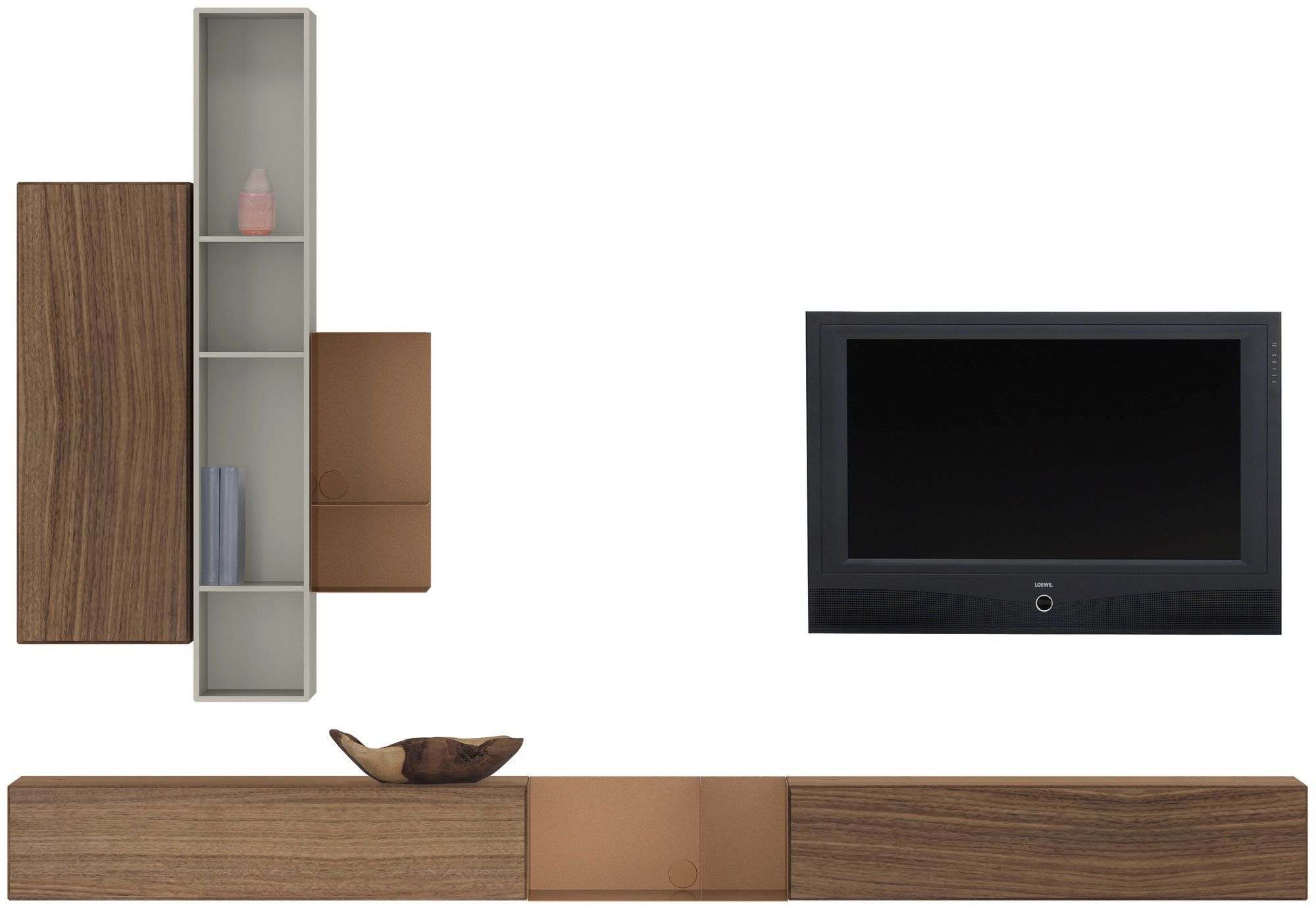 Contemporary Tv Wall Unit Lacquered Wood Glass Mdf Lugano  # Meuble Tv Boconcept