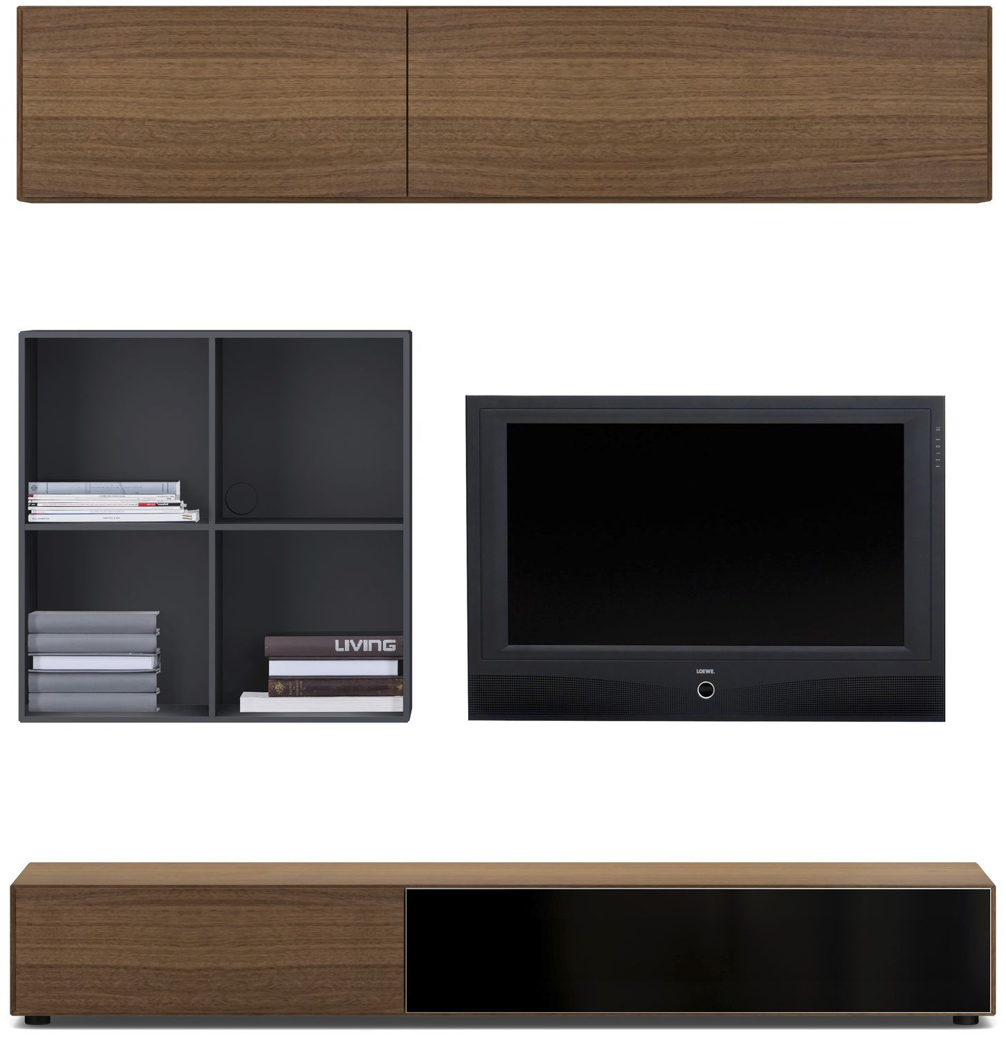 contemporary tv wall unit / lacquered wood / glass / mdf - lugano