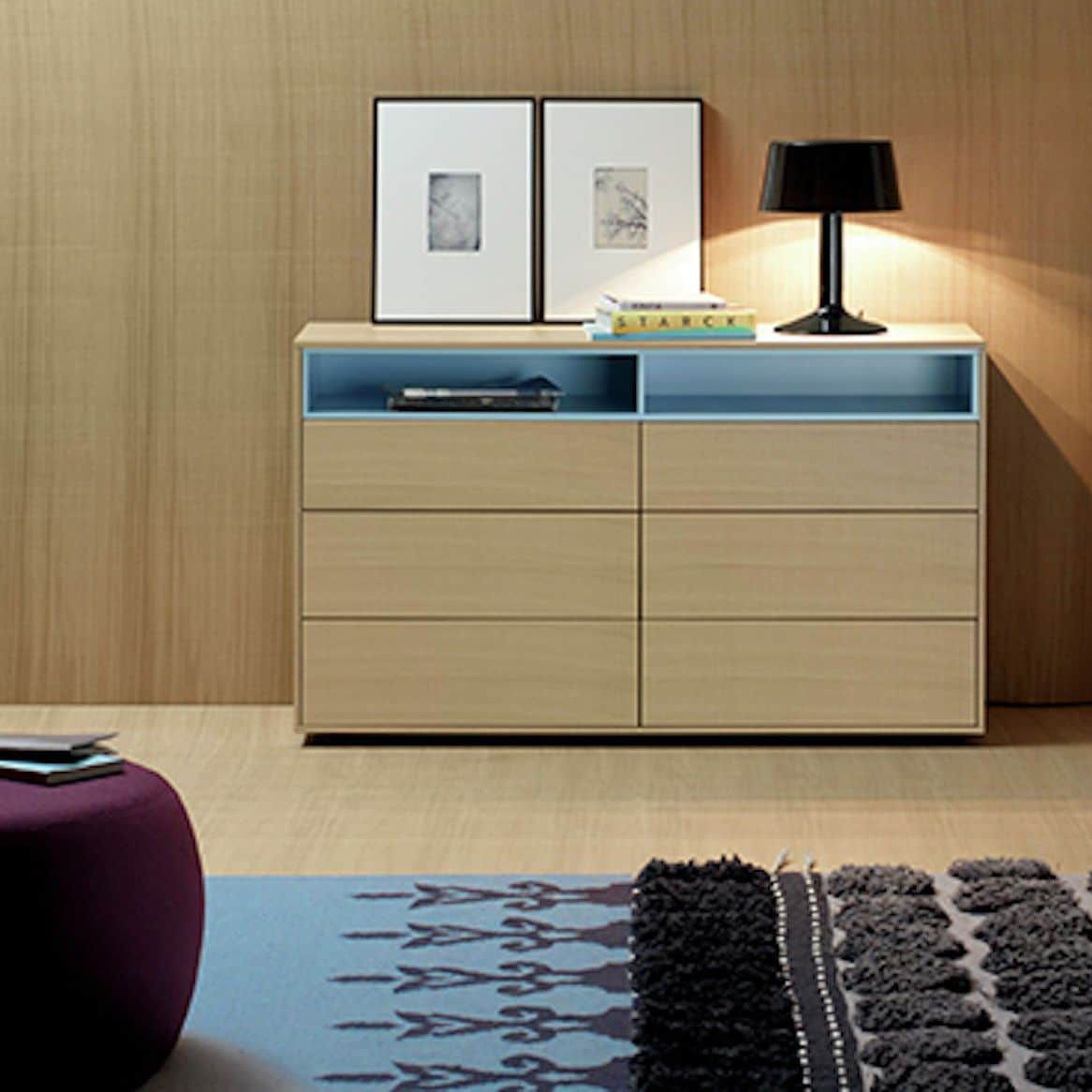 Contemporary Chest Of Drawers Walnut Lacquered Wood Oak  # Meuble Tv Treku