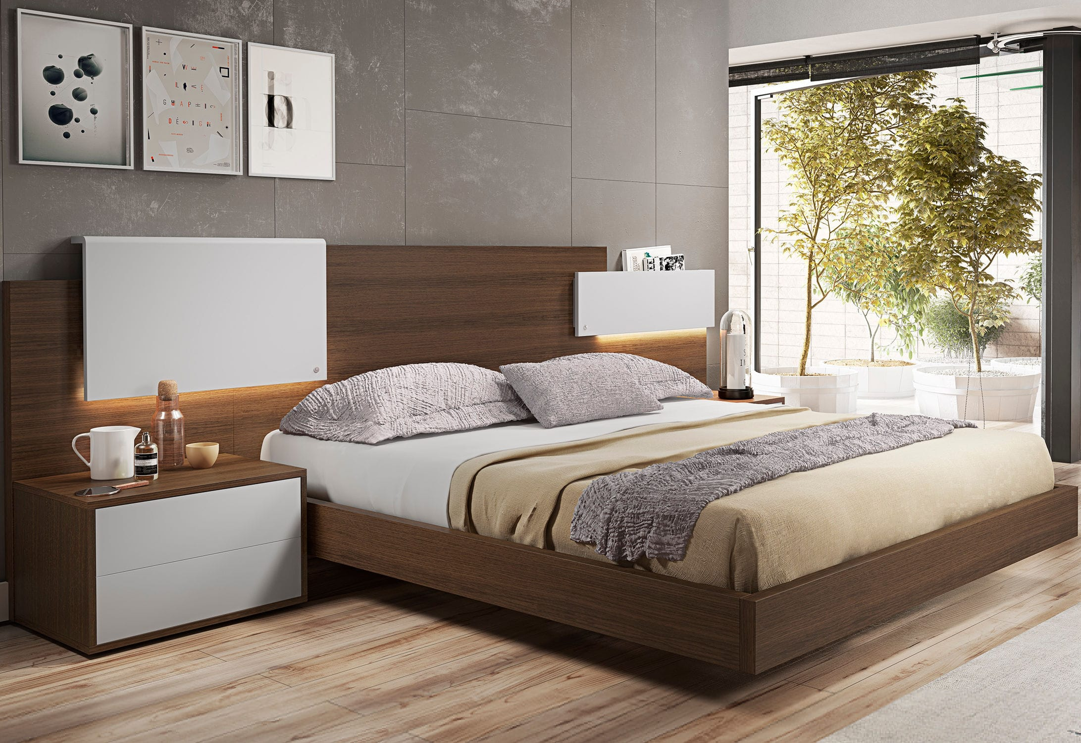 Double Bed Contemporary With Headboard With Lights Nexo8  # Muebles Piferrer Iline
