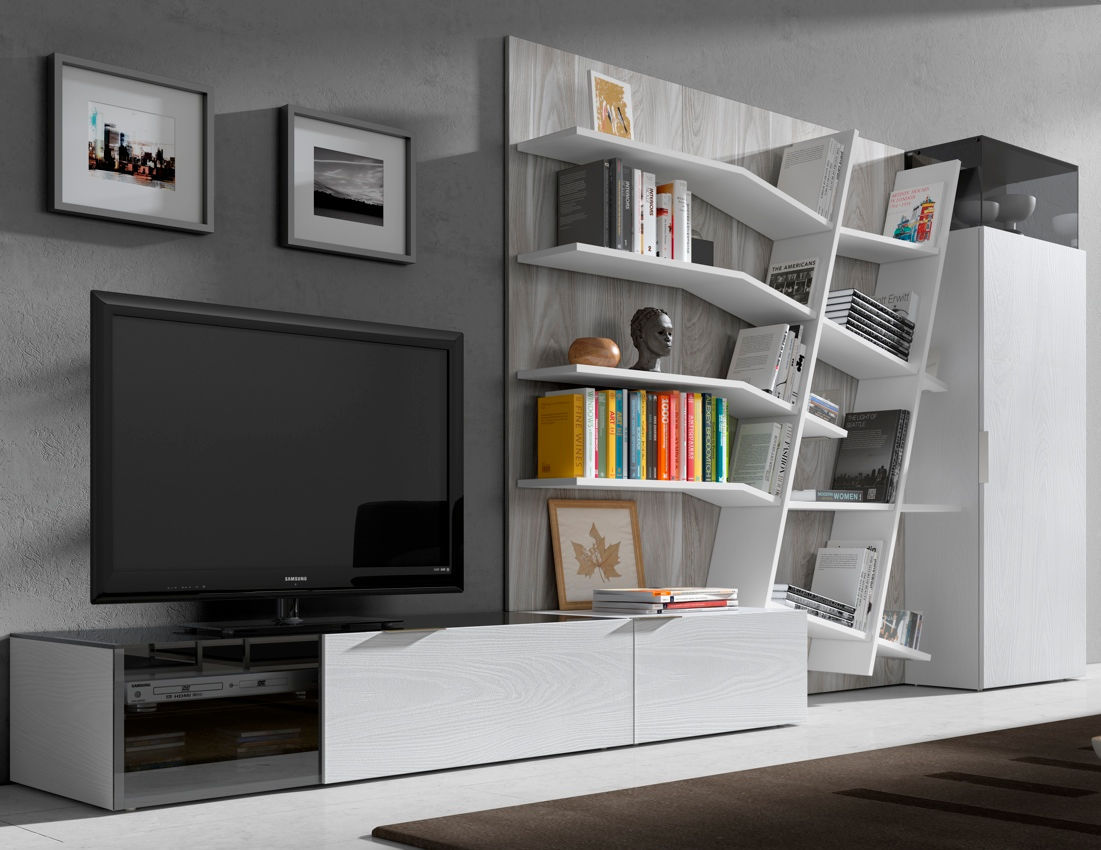 Contemporary Tv Wall Unit Lacquered Wood Hi Fi Iline 1  # Muebles Piferrer Iline