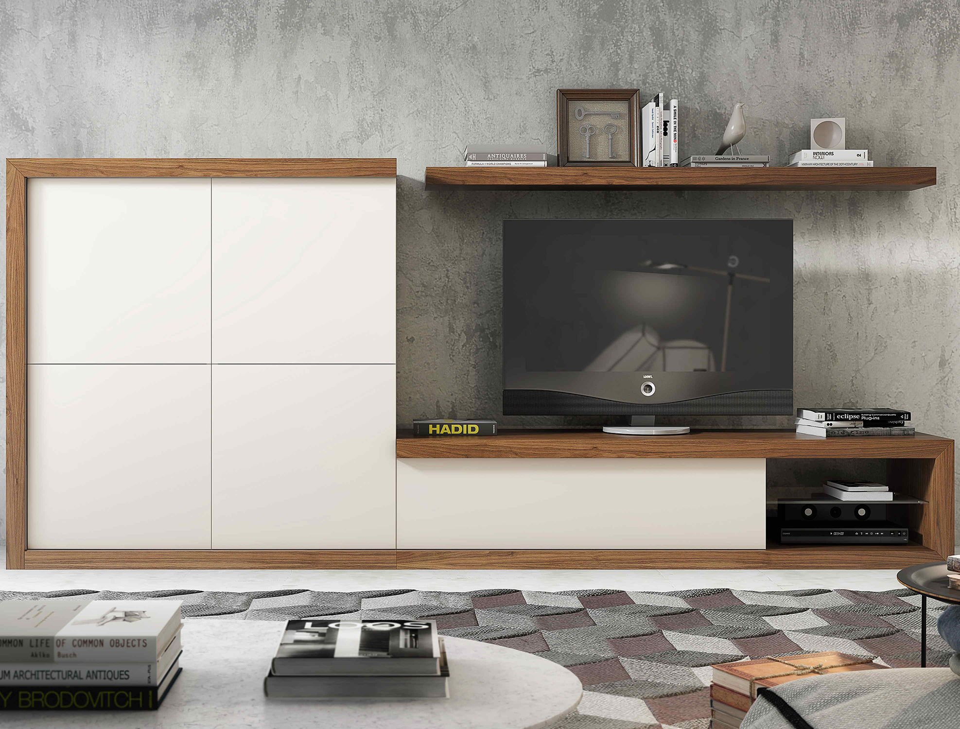 Contemporary Tv Wall Unit Lacquered Wood Wood Veneer Hi Fi  # Muebles Piferrer Iline