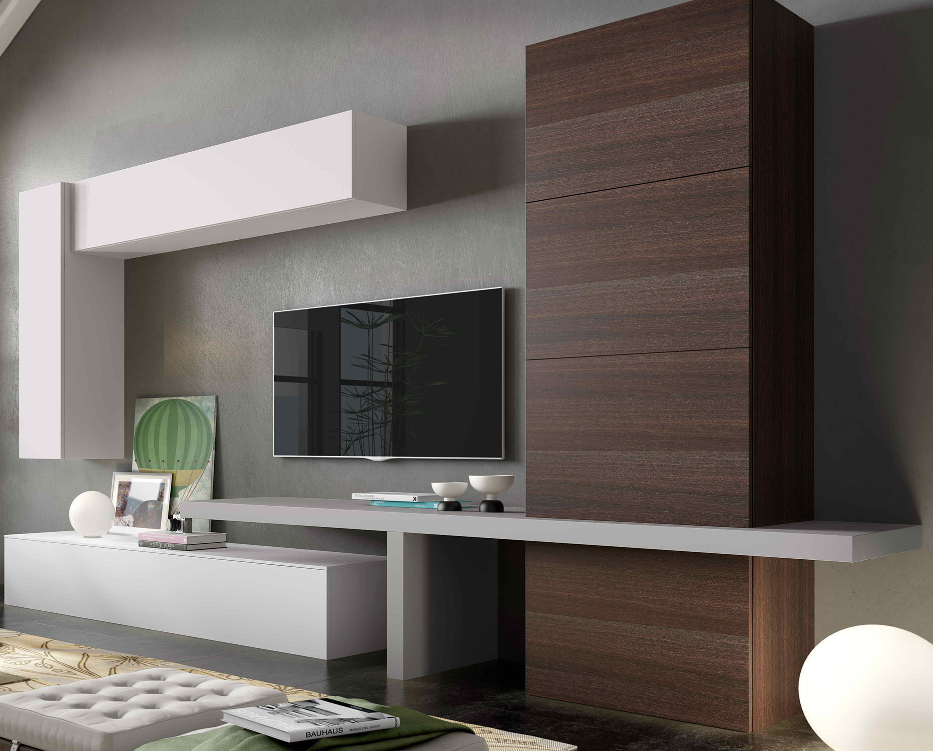 Contemporary Tv Wall Unit Lacquered Wood Impersonal2k15 2  # Muebles Piferrer Iline