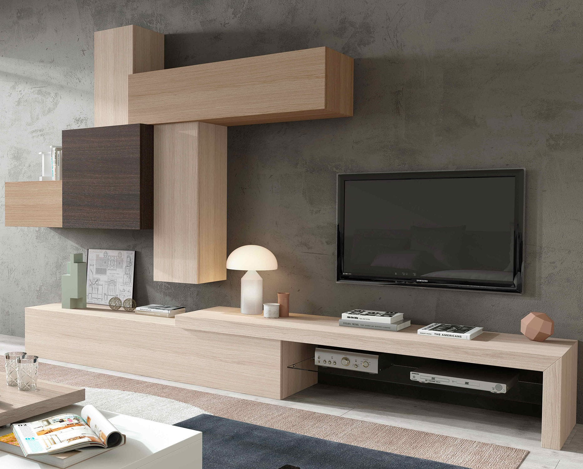 Contemporary Tv Wall Unit Wooden Hi Fi Impersonal2k15 3  # Muebles Piferrer Iline