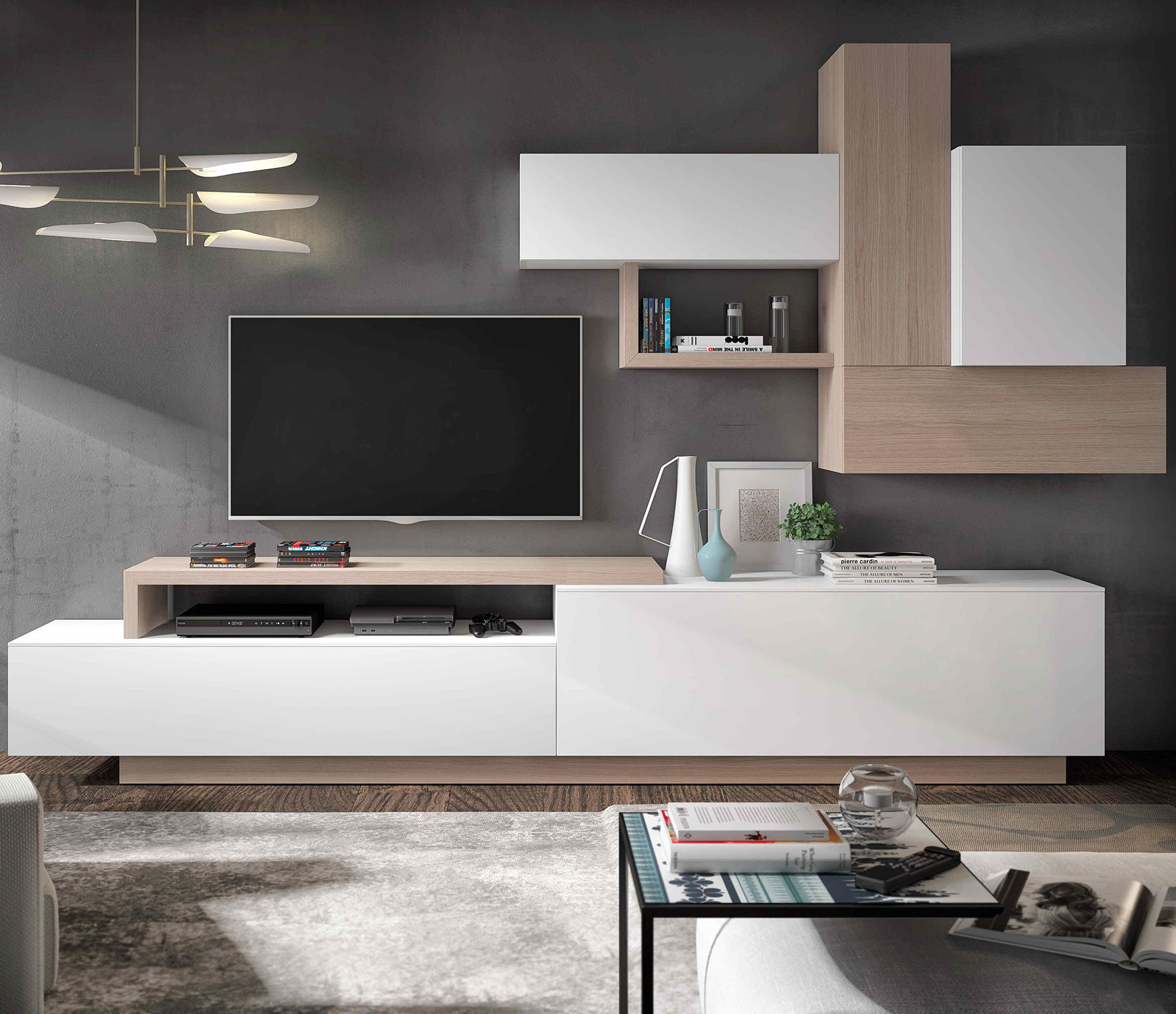 Contemporary Tv Wall Unit Lacquered Wood Hi Fi  # Muebles Piferrer Iline