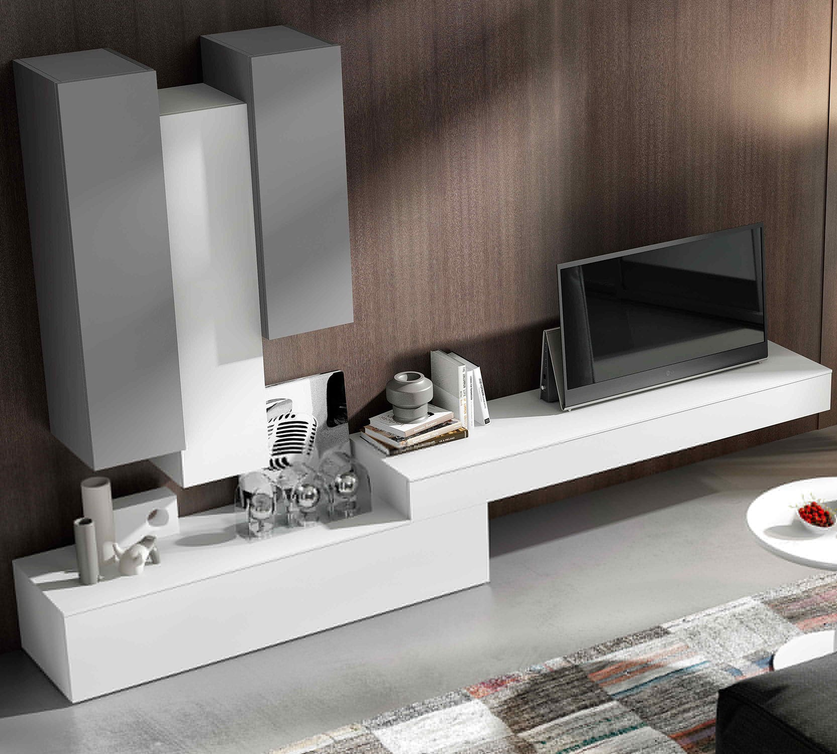 Contemporary Tv Wall Unit Lacquered Wood Impersonal2k15 8  # Muebles Piferrer Iline