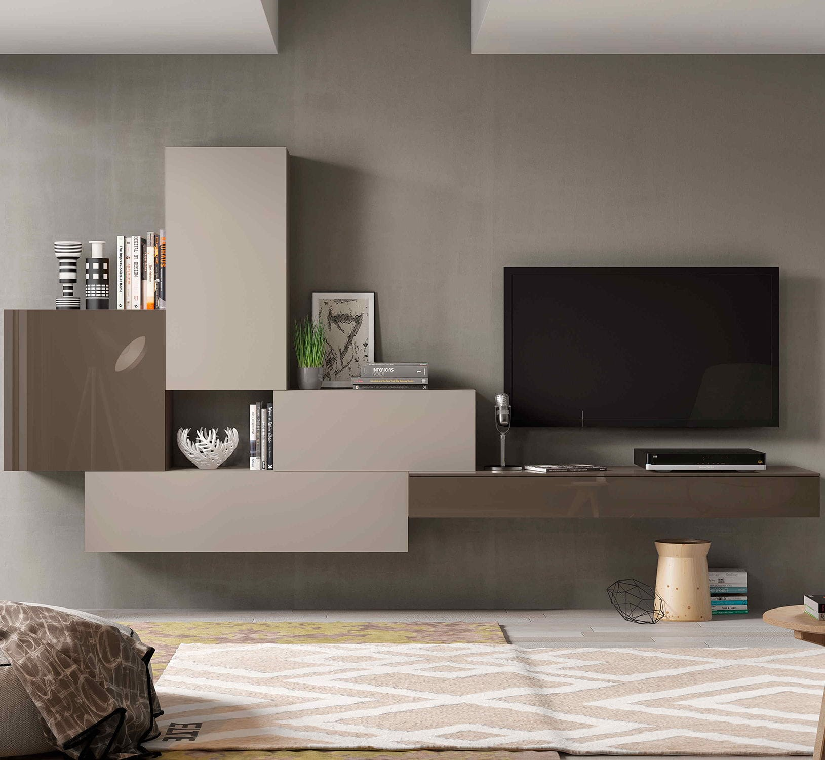 Contemporary Tv Wall Unit Lacquered Wood Impersonal2k15 9  # Muebles Piferrer Iline