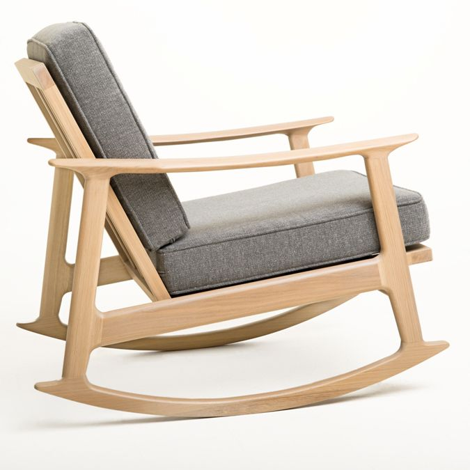 Scandinavian Design Armchair / Fabric / Oak / Solid Wood   EVELIN ROCKING