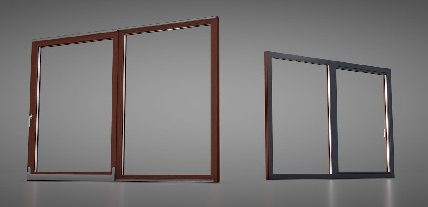 Tilt And Slide Patio Door Wooden Aluminum Triple Glazed