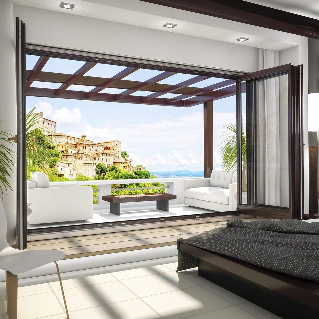 Folding patio door wooden doubleglazed tripleglazed