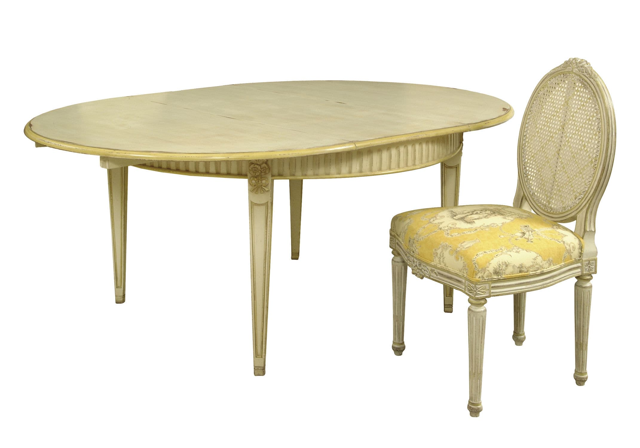 Louis XVI style dining table wooden rectangular round