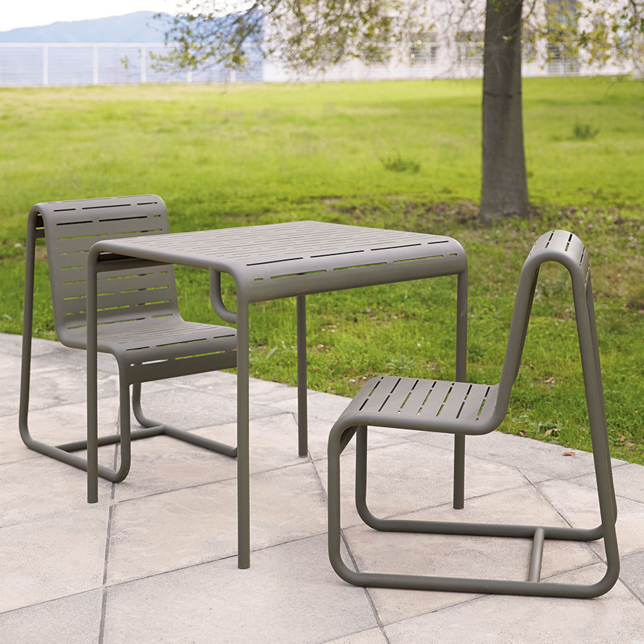 Contemporary Garden Chair Sled Base Aluminum Civic By Rios Clementi Hale
