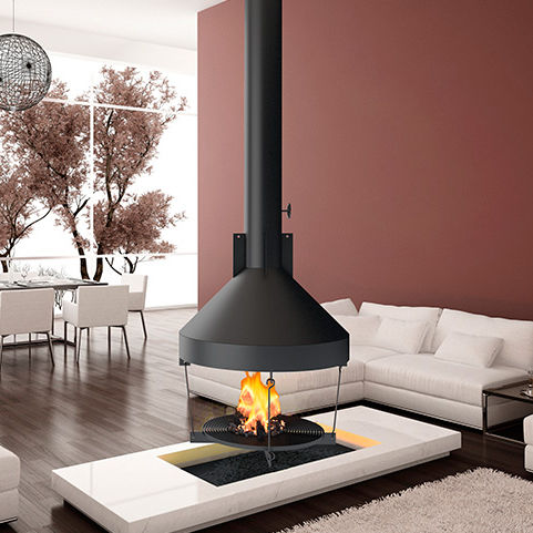Wood Burning Fireplace Contemporary Open Hearth Central By - Chimenas