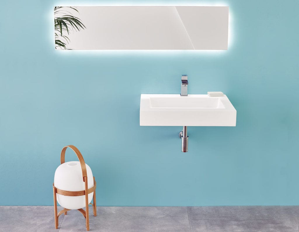 Wall-mounted washbasin / rectangular / Solid Surface / contemporary ...