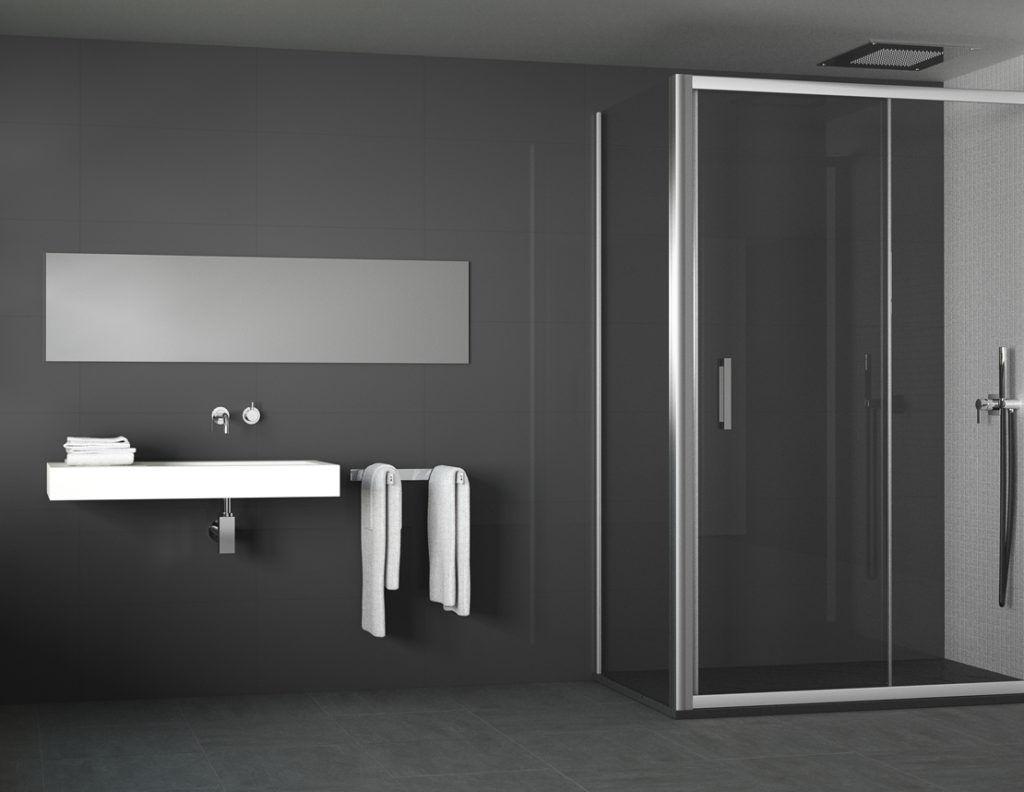 Sliding shower screen / corner / for alcoves / glass - MANHATTAN ...