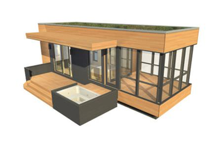 prefab micro-house / contemporary / wooden / single-story - solo